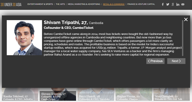Forbes Asia, Shivam Tripathi, Cambodia, Camboticket